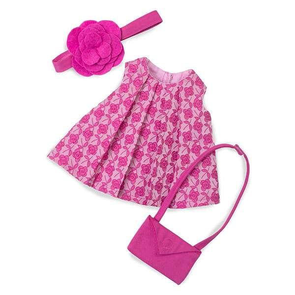 robe d'été rose pour poupéeen tissu