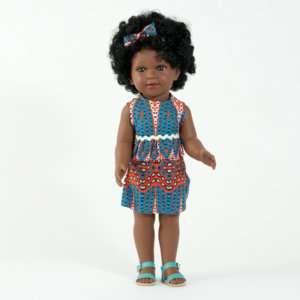 Poupée africaine fille avec cheveux frisés