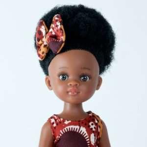 Bontle ravissante poupée africaine aux cheveux crépus avec robe en wax orange