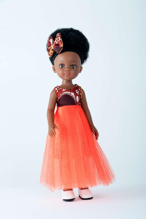 Bontle poupée noire aux cheveux crépus avec robe en wax orange