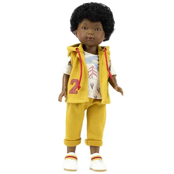 poupée noire garçon avec cheveux bouclés tout doux