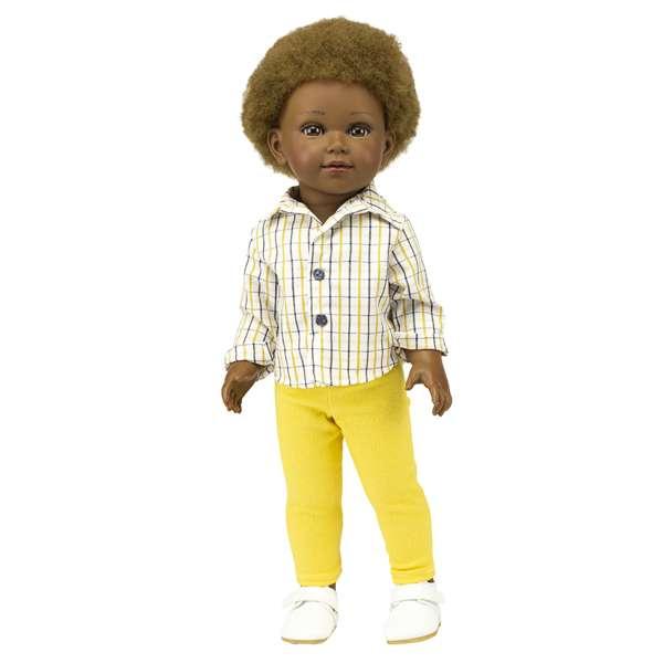 Madiba poupée black garçon africain avec cheveux crépus