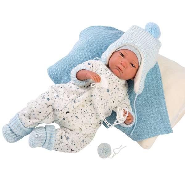 Attachant bébé reborn avec gigoteuse blanche à motifs bleus