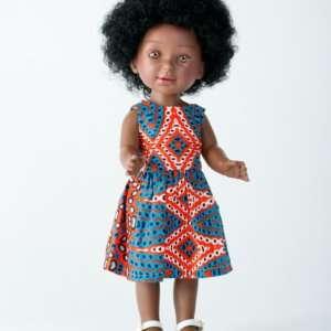 Keyana sublime poupée africaine avec cheveux bouclés et robe en tissu wax
