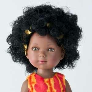 Rowane poupée africaine avec cheveux bouclés et robe en tissu batik cousue main